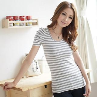 Round-neck Striped Top