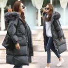Faux-fur Hooded Flap-pocket Padded Coat