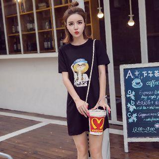 Cartoon Print Short Sleeve T-shirt Dress