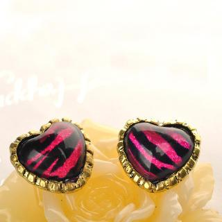 Zebra Print Heart Earrings  Purple - One Size