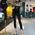 Leopard Shirt / Skinny Pants