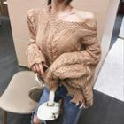 Cable Knit Distressed Sweater