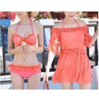 Set: Frill Trim Bikini + Off-shoulder Cover-up Dress