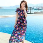 Floral Short-sleeve Midi Chiffon Dress