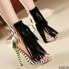Strappy Fringed High Heel Sandals