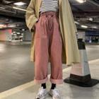 Corduroy Wide-leg Pants / Plain Cropped Pants
