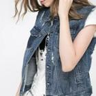 Washed Distressed Buttoned Denim Vest