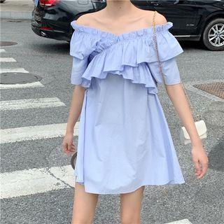 Off-shoulder Ruffle-trim Dress As Shown In Figure - One Size