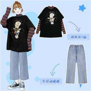 Set : Patchwork Long-sleeved Fake Two Piece Top + High Waist Jeans
