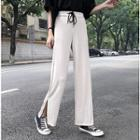 Drawstring Slit High-waist Pants