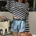 Drop-shoulder Stripe Crop Top Black - One Size