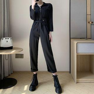 3/4-sleeve Zip Straight-leg Jumpsuit