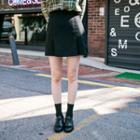 Pleated-hem Mini Skirt