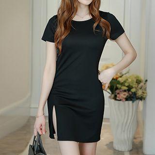 Short-sleeve Slit Sheath Dress