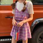 Plaid Camisole / Plaid Mini Pleated Skirt / Long-sleeve Top / Short-sleeve Top / Set