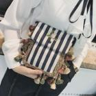 Tasseled Striped Canvas Shoulder Bag