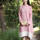 Long-sleeve Asymmetric Panel-hem Dress