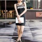 Lettering Tank Dress Black - One Size