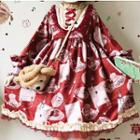 Mock Two-piece Long-sleeve Strawberry Print Dress