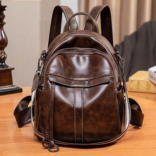 Genuine Leather Mini Backpack Coffee - One Size