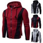 Contrast Panel Hooded Zip Jacket