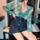 Long-sleeve Floral Print Blouse / Denim Shorts