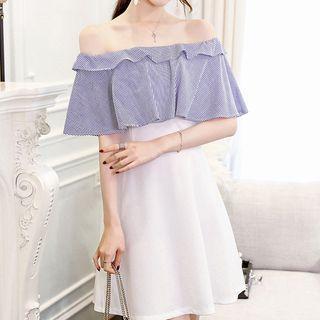 Striped Panel Off-shoulder A-line Dress
