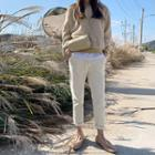 Drawcord Tapered Corduroy Pants Ivory - One Size