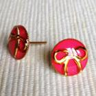 Resin Ribbon Earrings (pink) One Size