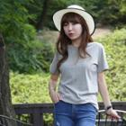 Short Sleeve Round-neck Plain T-shirt