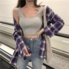 Plaid Shirt / Plain Tank Top