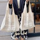Large Canvas Letter Printed Tote Bag