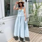Shirred Maxi Denim Suspender Dress Light Blue - One Size
