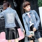 Washed Studded Buttoned Denim Jacket