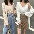 Set: Plain Camisole Top + Cardigan