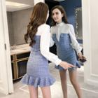 Mock Two-piece Long-sleeve Check Panel Mini Dress
