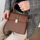 Faux Leather Handbag With Shoulder Strap Dark Brown - One Size