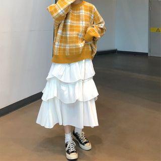 Long-sleeve Plaid Knit Top / High-waist Layered Plain A-line Skirt