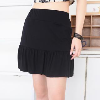 Elastic Waist A-line Skirt Black - One Size