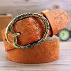 Floral Embossed Genuine Leather Belt