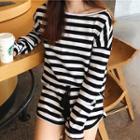 Set: Striped Long-sleeve T-shirt + Shorts