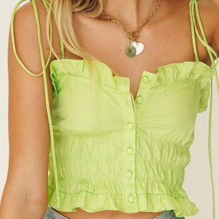 Ruffle Trim Button-up Cropped Camisole Top