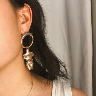 Alloy Human Figure Dangle Earring Gold - One Size