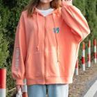 Bear Print Zip Hoodie Orange Pink - One Size