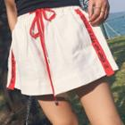 Lettering Trim Drawstring Waist Shorts