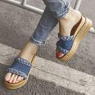 Denim Wedge Slide Sandals