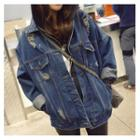 Distressed Loose Fit Denim Jacket