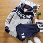 Set: Letter Colour Block Hooded Jacket + Sweatpants
