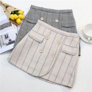 Plaid Woolen Pencil Skirt