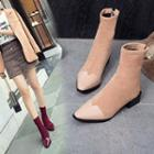 Pointed Panel Ankle Boots